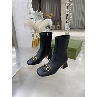 Gucci 2021Trending Women's men Leather Side Zip Lace-up Ankle Boots Shoes High Boots08130wk