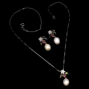 Natural Pear & Tourmaline Necklace & Earring Set