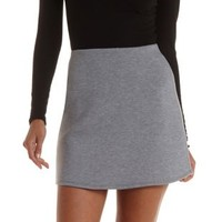 Gray A-Line Scuba Knit Skirt by Charlotte Russe