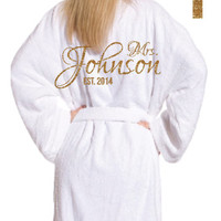 Adult Velour Wedding Bathrobes Personalized with GLITTER for your very special Bride and Groom. Beautiful Honeymoon hotel robe.