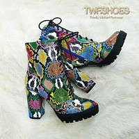 """Florance Colorful Multi Snake Lace Up 4"""" Block Heel Ankle Boots 7-11"""