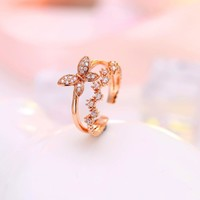 Shiny Jewelry Gift New Arrival 925 Silver Korean Stylish Fashion Butterfly Double-layered Ring [7587126727]