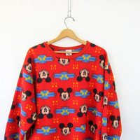 Vintage Mickey Mouse long fleece Shirt nightgown / red Disney fall into winter sleepwear / sleep tee shirt