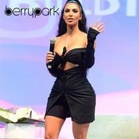 BerryPark Kim Kardashian Sexy Long Sleeve Playsuit Bandage Bow Hollow Out Button Jumpsuit 2019 Fashion Women Matching Outfits
