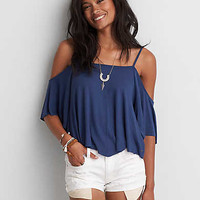 AEO Soft & Sexy Cold Shoulder Swing Top, Skyline Blue