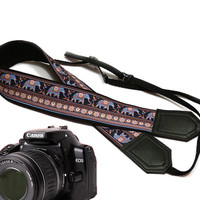 Elephant camera strap. Ethnic camera strap. DSLR Camera Strap. Camera accessories. Nikon Canon camera strap.