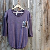 Final Sale - Sequin Pocket Tunic Top in Plum