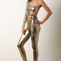 Metallic One Shoulder Cutout Fitted Jumpsuit | UrbanOG