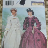 Sewing Pattern Butterick 6694 Uncut Making History Misses Top and Skirt Civil War Era Costume Dress Size 12-14-16 DIY Historical Clothing