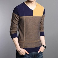 Autumn and Winter New Men's Long Sleeve Sweater Men's Business V-neck Hit color Knit Sweater   Pullover Men's