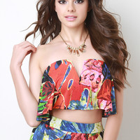 Tropical Strapless Crop Top