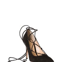 Gianvito Rossi Suede Lace Up Pump