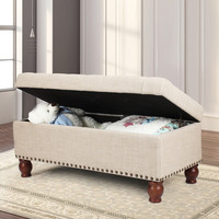 Beige PU Fabric Storage Bench