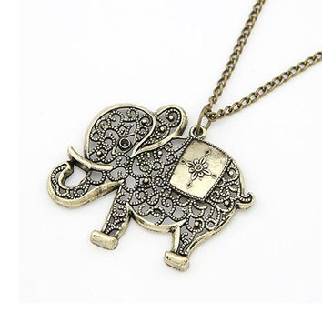 Retro Bronze Elephant  Necklace