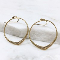 Crystal Hoop Earrings in Gold