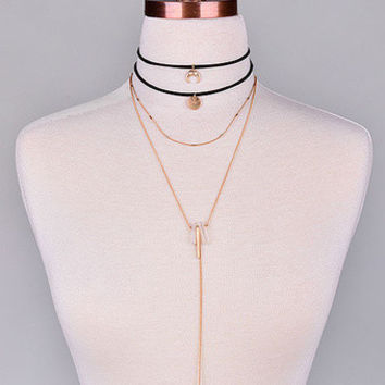 Layered Crystal Choker Necklace