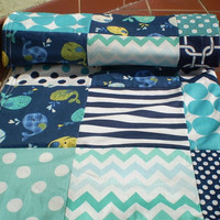 Quilt baby newborn Baby boy quilt,teal,navy blue,chevron,Patchwork crib quilt,baby boy bedding,elephant baby blanket,nautical,whales,fleece