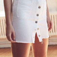 BDG Denim Button-Front Frayed Skirt - Urban Outfitters