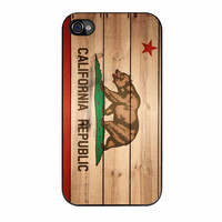 California Republic State Flag Wood Design iPhone 4 Case