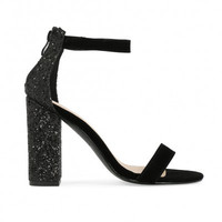 JUNO GLITTER BACK BARELY THERE BLOCK HEELS IN BLACK FAUX SUEDE