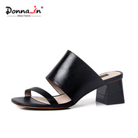 Donnain 2016 summer new styles calf skin middle heel slippers women's leather sandals