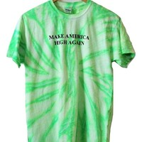 Make America High Again Neon Mint Green Tie-Dye Graphic Unisex Tee