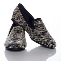 Alba Footwear Secret Stripes Cubic Zirconia Studded Smoking Slippers - Black