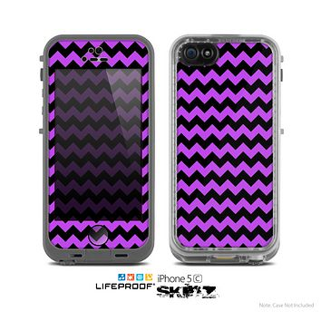 The Black & Purple Chevron Pattern Skin for the Apple iPhone 5c LifeProof Case