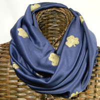 Notre Dame Inspired Infinity Scarf, Navy Blue, Hand Painted Gold Shamrocks Circle Scarf,  (itm170)