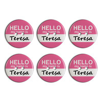 Teresa Hello My Name Is Plastic Resin Button Set of 6