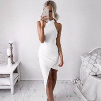 ≫∙∙White Bodycon Sexy Sleeveless Halter Evening Party Club Dress ∙≪