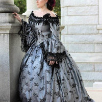 Valentina Gothic Romantic Off Shoulder Fantasy Gothic Victorian Gown Custom