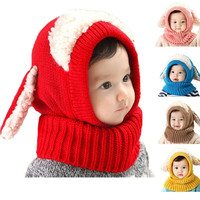 Scarf Winter New Baby Hat Wool Hat Winter Hat Hot Sale Beanie Hat Hooded Scarf Earflap Knit Cap Toddler Cute = 1705705476