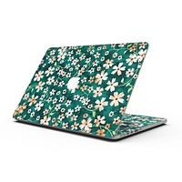 Flowers with Stems over Deep Green Watercolor - MacBook Pro with Retina Display Full-Coverage Skin Kit