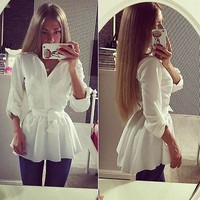 new women s blouse shirt long sleeve button down casual tops ladies slim dress