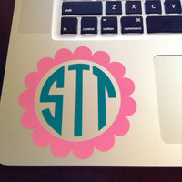 """4"""" Scallop Monogram in Two Colors Laptop Decal"""