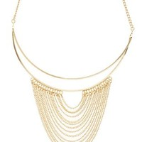 Gold Draped Chain Choker Necklace by Charlotte Russe