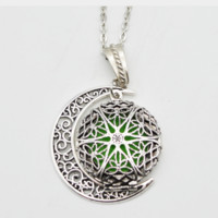 Round Filigree Essential Oil Diffuser Necklace with Moon