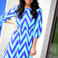 Things Are Looking Up Dress: Mint/Periwinkle   Hope's