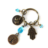 Tree Keychain Yoga Accessories Brass Aqua Blue Om Hand of Fatima Boho Protection Keyring Bag Charm Keyring Unique Birthday Gift For Her
