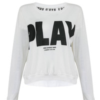 "White Sweatshirt with ""Play"" Letter Print"