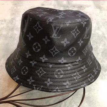 LV Louis Vuitton Women Men Fashion Sunhat PU Cat Black