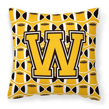 Letter W Football Black, Old Gold and White Fabric Decorative Pillow CJ1080-WPW1414