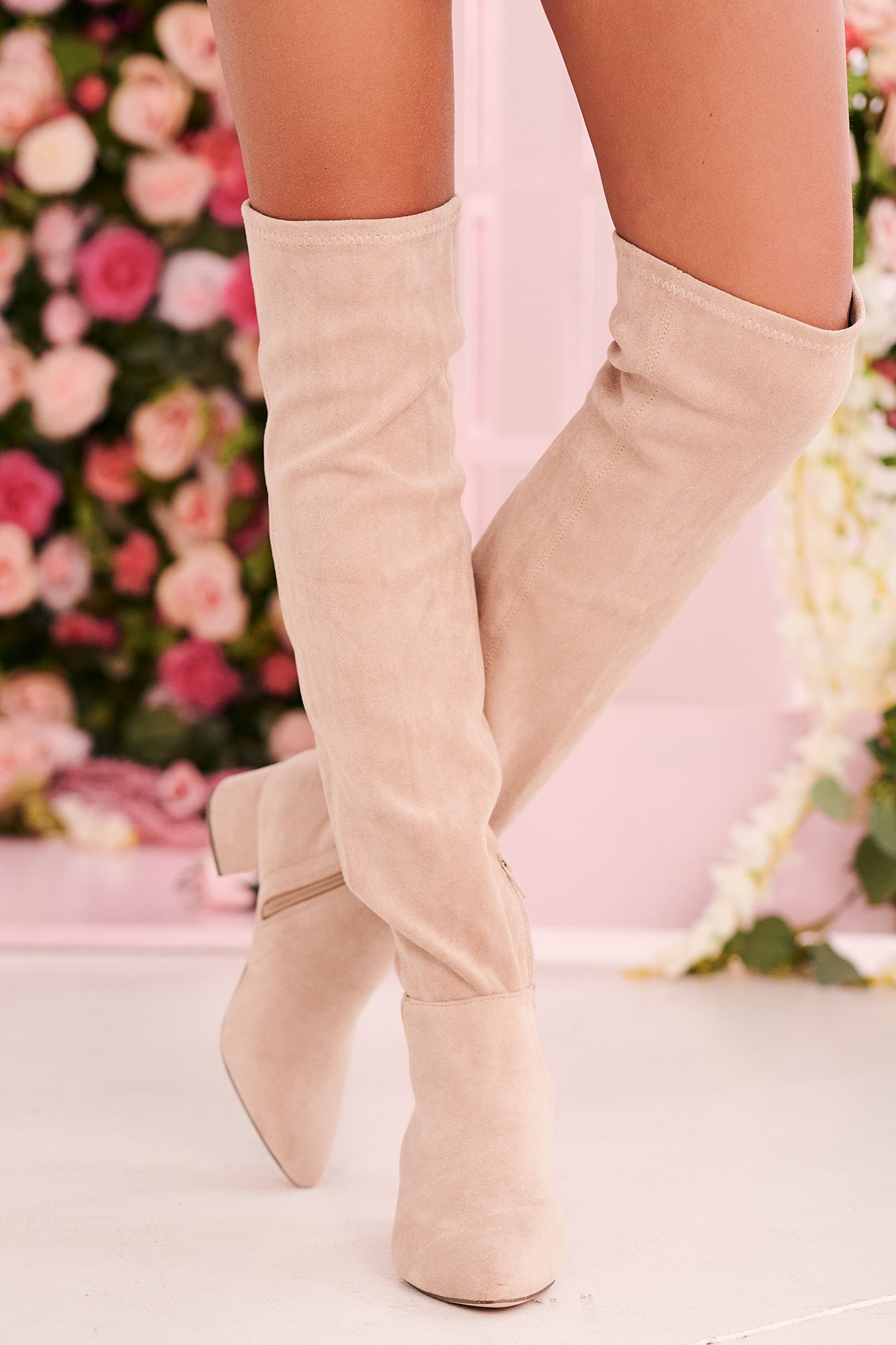 Image of Missed Your Chance Thigh High Boots (Nude Suede)