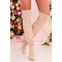 Missed Your Chance Thigh High Boots (Nude Suede)