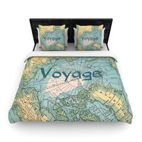 """Catherine Holcombe """"Voyage"""" Teal Map Woven Duvet Cover"""