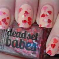 "Nail Polish ""Lost in Love"" Red, Pink & White hearts and matte glitter Full Size 12ml"