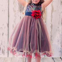 Girls Red Sequin Party Dress w. Tri-Color Tulle 2-14 & 16x-20x