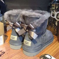 DCCK8X2 UGG' Women male Fashion Wool Snow Boots A bowknot Grey