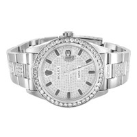 Mens Rolex Watch 8.25 Ct Diamond Presidential Datejust Stainless Steel